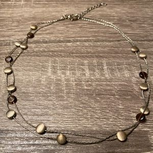 Monet Double Chain Gold Tone Necklace